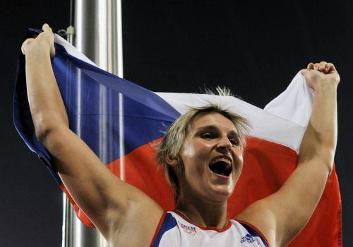 Barbora Špotáková po vítězném hodu oštěpem